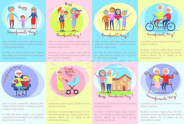 Stockfoto: Gelukkig · grootouders · dag · senior · paren · kinderen