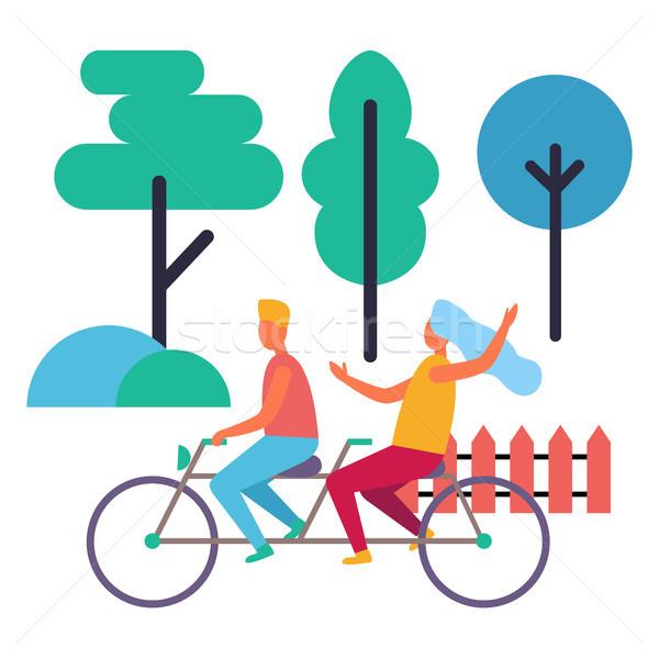 Chłopca dziewczyna podwoić rowerów odizolowany ilustracja Zdjęcia stock © robuart