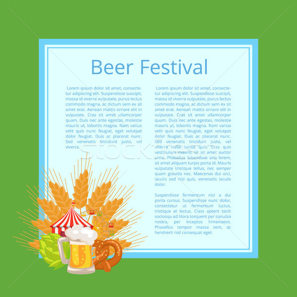 Beer Festival Poster with Tasty Food and Beverage Stock photo © robuart