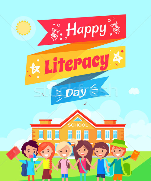 Happy Literacy Day Ribbon Vector Illustration Stock photo © robuart