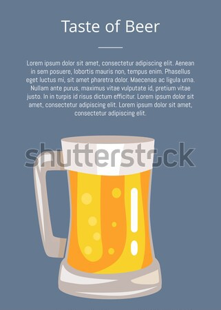 Let s Drink Beer Poster with Text and Mug of Drink Stock photo © robuart