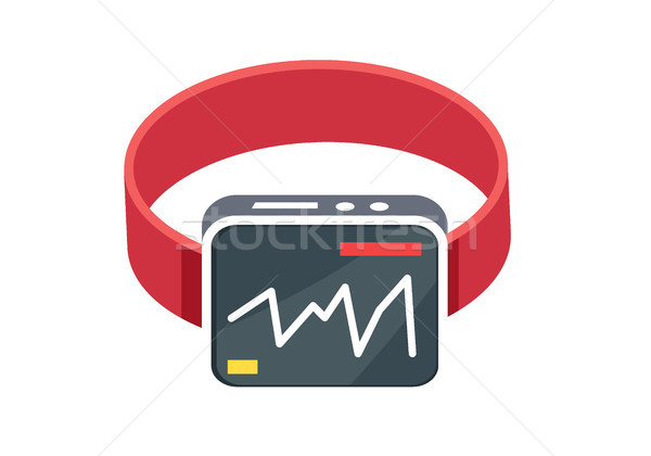 Red Smart Watch Flat Style on White Background Stock photo © robuart
