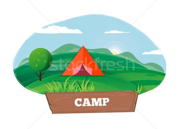 Tempo camping cartaz tenda ao ar livre modelo Foto stock © robuart