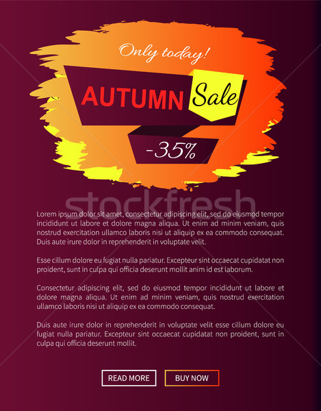 Only Today Autumn Sale -35 Advert Promo Poster Stock photo © robuart