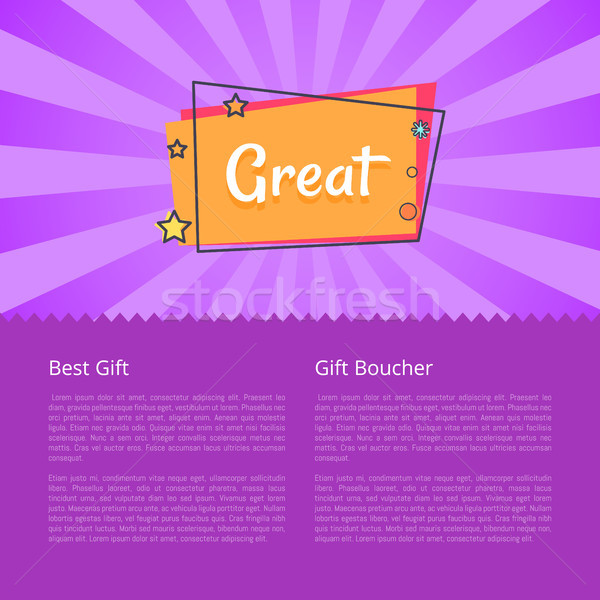 Great Best Gift Voucher Poster with Text Info Stock photo © robuart