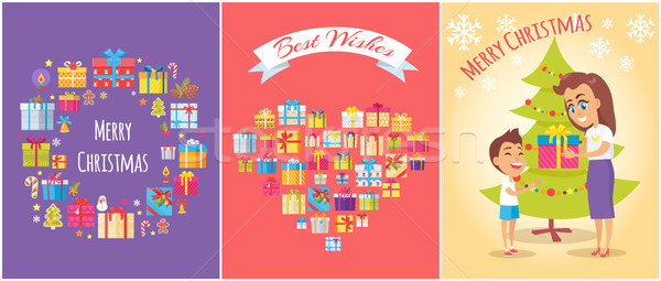 Merry Christmas Mom and Son Vector Illustration Stock photo © robuart