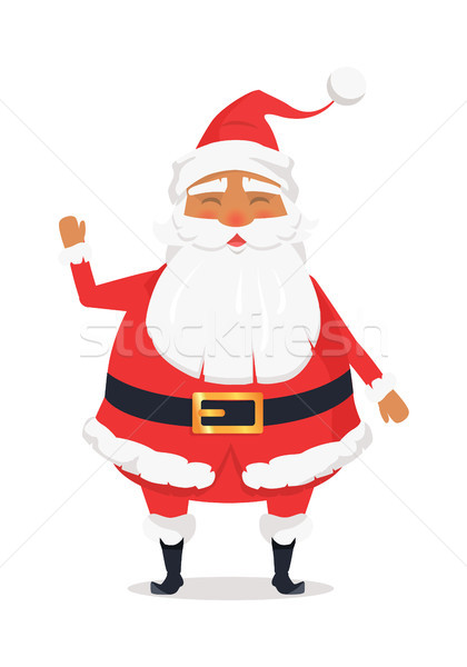 Waving Happy Santa Claus on White Background. Stock photo © robuart