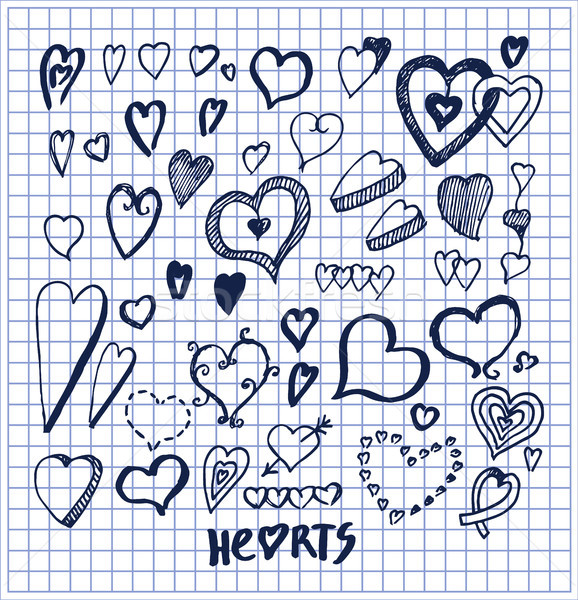 Hearts Hand Drawn Elements Written by Ink Pen Stock photo © robuart