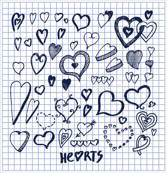 Stockfoto: Harten · communie · geschreven · inkt · pen