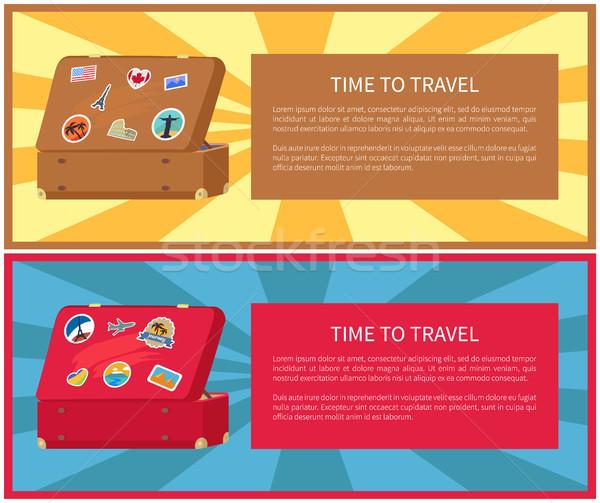 ストックフォト: 時間 · 旅行 · ポスター · セット · 文字 · サンプル