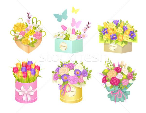 Сток-фото: коробки · бабочки · Flying · цветы · различный · изолированный