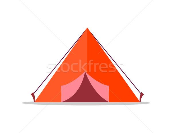 Foto stock: Vermelho · tenda · isolado · ilustração · branco · tecido