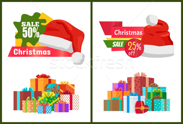 Set of Ads Christmas Sale Posters Promo Labels Stock photo © robuart