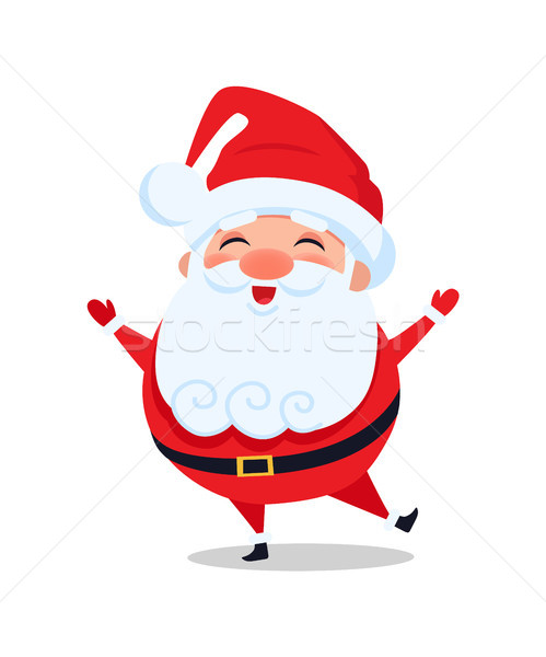 Holly Santa Claus Stands on One Leg and Sing Carol Stock photo © robuart