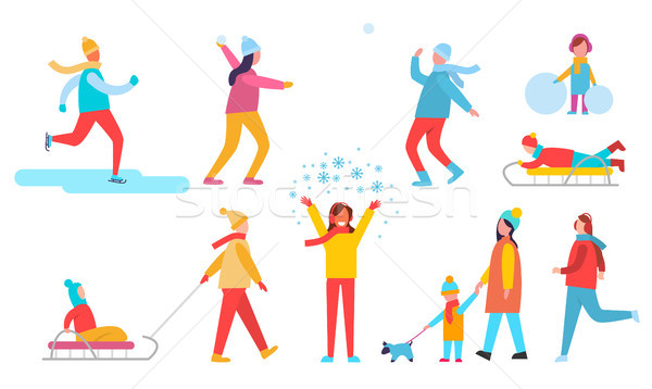 People Winter Actions Set, Vector Illustration Stock photo © robuart