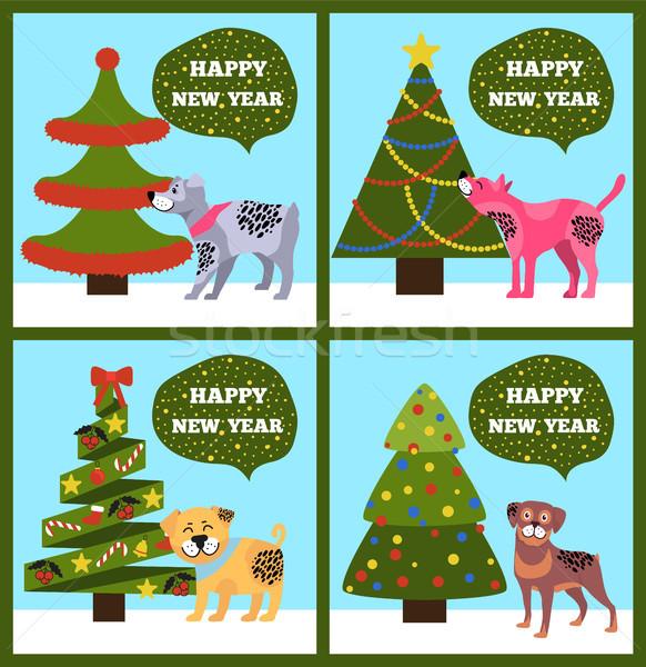 Boldog új évet bannerek pontozott kutyakölyök fa szett Stock fotó © robuart