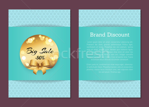 Brand Discount Sale Cover Front Back Golden Label Stock photo © robuart