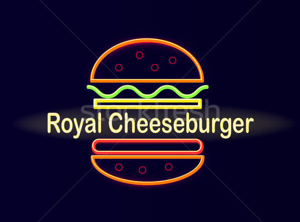 Royal cheeseburger lumineuses néon rue café Photo stock © robuart