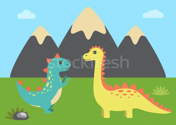 Doğa dinozorlar ayarlamak dağ gökyüzü Stok fotoğraf © robuart
