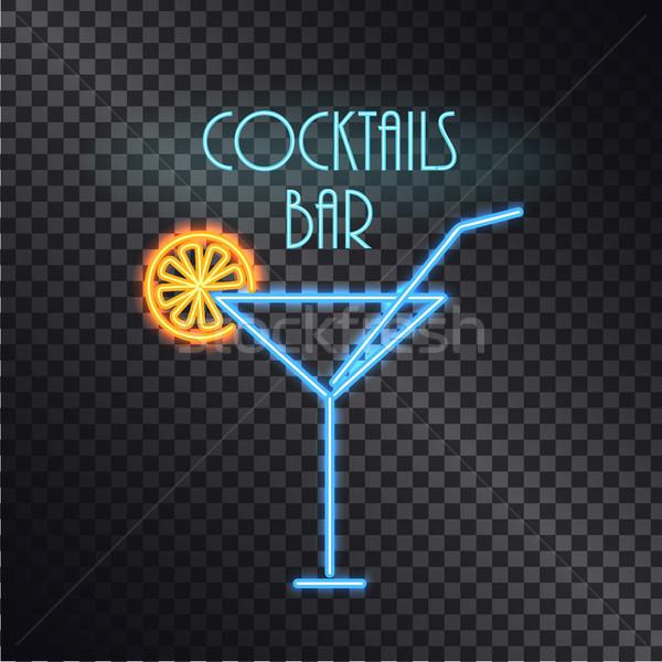 Bar neon poster renk kokteyller yalıtılmış Stok fotoğraf © robuart