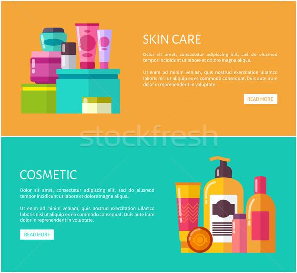 Bőrápolás kozmetikai szett oldalak tökéletes háló Stock fotó © robuart