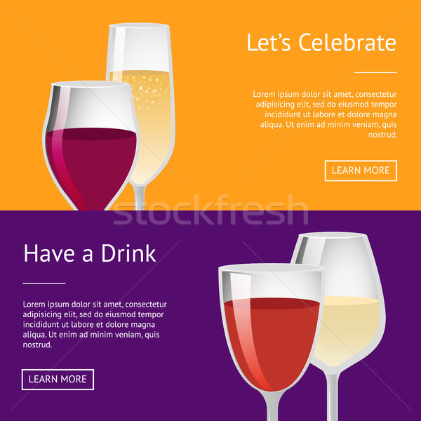 Lets Celebrate have Drink Set of Posters with Text Stock photo © robuart