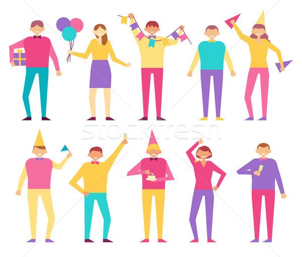 Conjunto pessoas festa de aniversário homens mulheres Foto stock © robuart