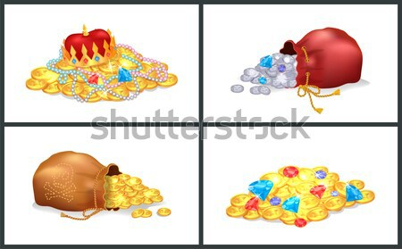 Ancient Shiny Precious Treasure with Gems in Heap Stock photo © robuart