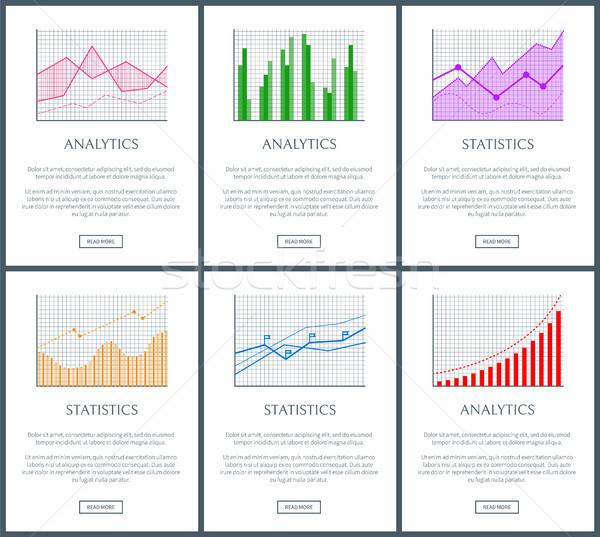 Statistiek charts analytics kleur diagrammen ingesteld Stockfoto © robuart