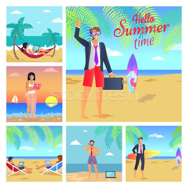 Olá verão tempo negócio bem sucedido pessoas Foto stock © robuart