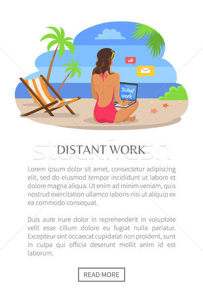 Distant Work Poster Push Button Read More, Woman Stock photo © robuart