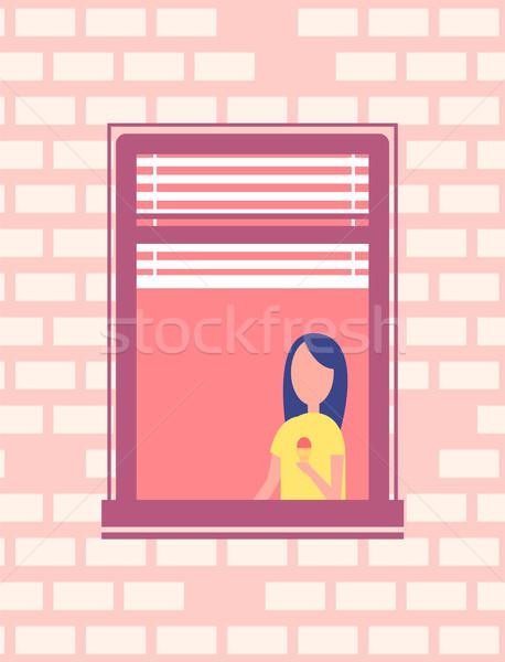 Vrouw ijs stand Open venster vector Stockfoto © robuart