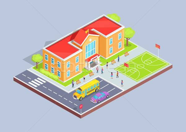 School Area 3D Illustration on Grey Background Stock photo © robuart