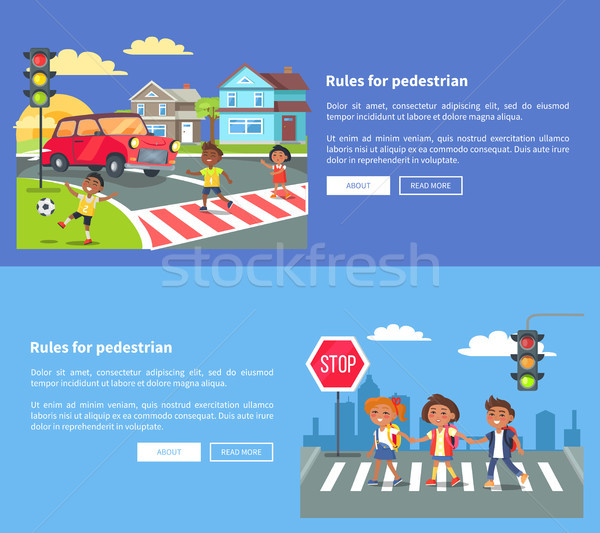 Rules for Pedestrians Set of Banners with Text Stock photo © robuart