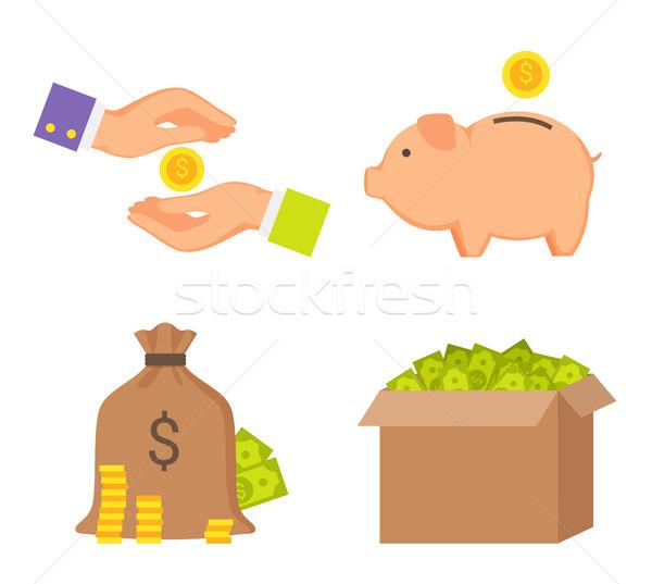 Stockfoto: Geld · dozen · menselijke · handen · kleur · iconen