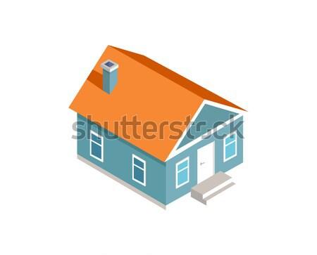 3D modèle confortable extérieur de la maison couleur carte Photo stock © robuart