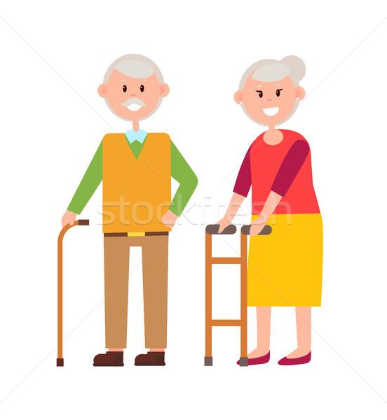 Cute Grandparents Picture, Vector Illustration Stock photo © robuart