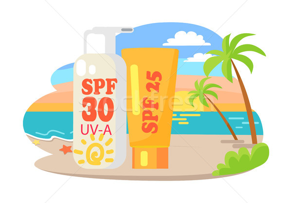 Protective Suntan Cream and Lotion Commercial Stock photo © robuart