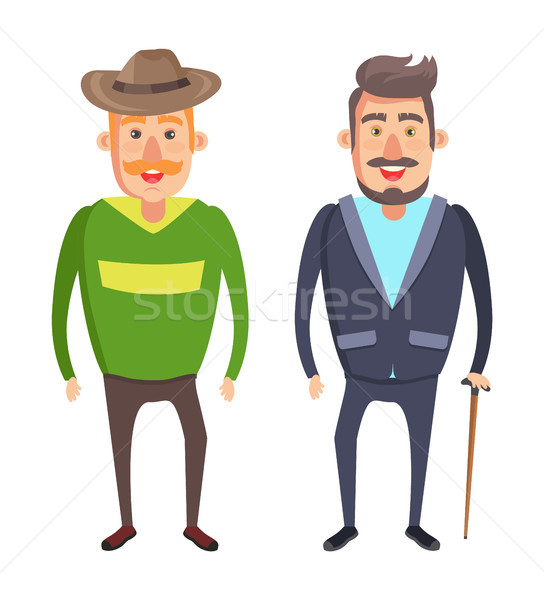 Male Characters Smiling Man in Hat with Mustaches Stock photo © robuart