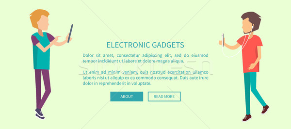 Electronic Gadgets Web Banner with Two Teenagers Stock photo © robuart