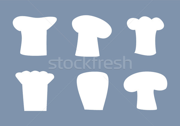 Chef Hats White Silhouettes Set of All Designs Stock photo © robuart