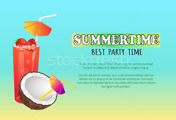 Сток-фото: летнее · время · лучший · party · time · вектора · плакат · коктейли