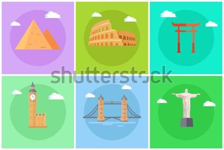 Monde célèbre carré promo bannières Photo stock © robuart