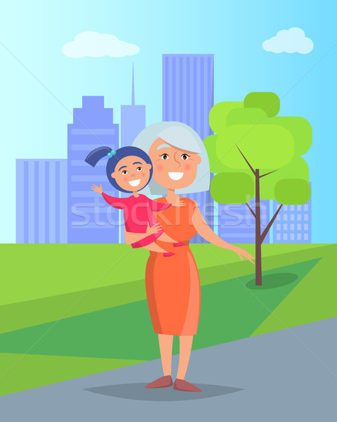 Vrouw kleindochter handen wolkenkrabbers volwassen Stockfoto © robuart