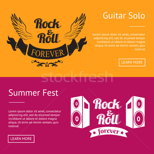 Rock Roll Forever and Summer Fest Set of Banners Stock photo © robuart
