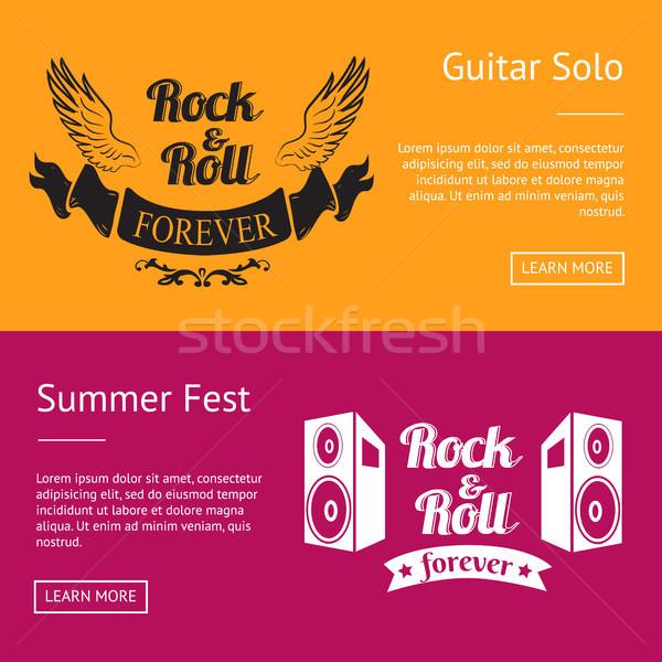 Rock rollen voor altijd zomer ingesteld banners Stockfoto © robuart