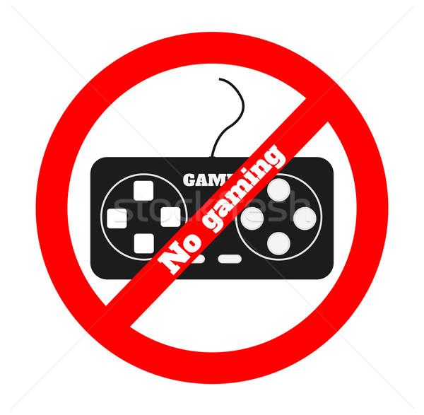 Nem számítógépes játékok ikon figyelmeztetés szimbólum fehér Stock fotó © robuart