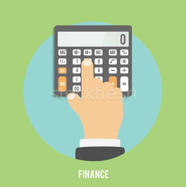 Calculator icon hand business zakenman kantoor Stockfoto © robuart