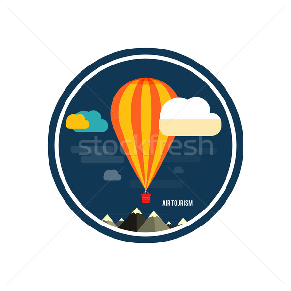 Hot air balloon flying over the mountain Stock photo © robuart