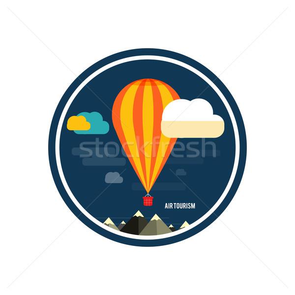 Hőlégballon repülés hegy ikonok utazó tervez Stock fotó © robuart